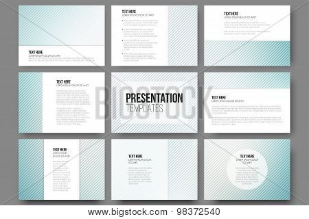 Set of 9 templates for presentation slides. Diagonal lines patterns, pastel vector backgrounds