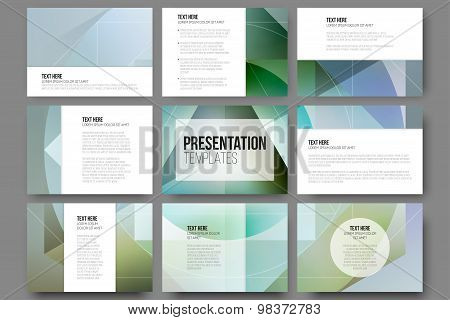 Set of 9 templates for presentation slides. Minimalistic geometric blurred vector backgrounds
