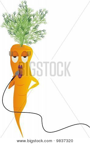 Carrot vegetable woman singing diva