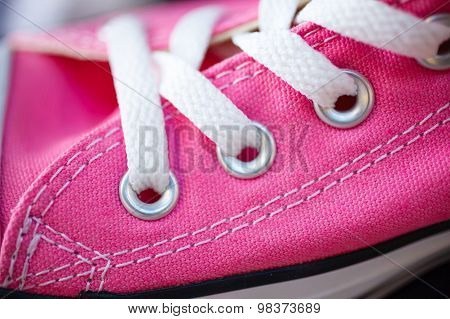Closeup Pink Fashionable Sneakers On Shop Shelf