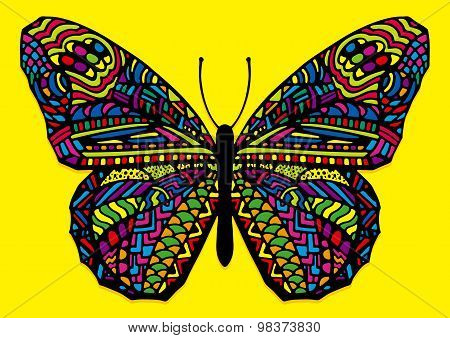 Colorful Hand Drawn Zentangle Style Butterfly