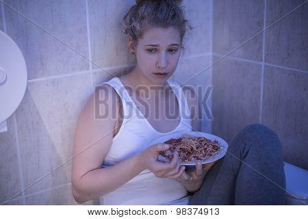 Overeating Sad Girl
