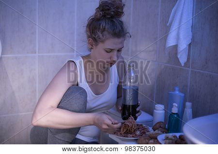 Sick Female Eating Unhealthy