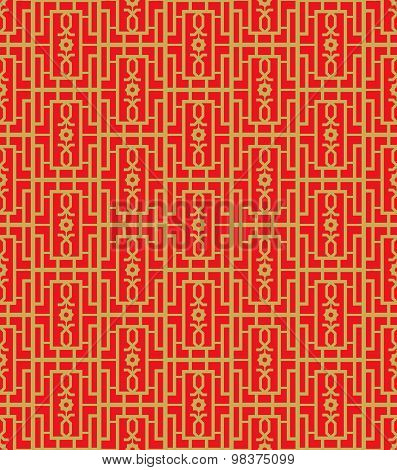 Golden seamless Chinese window tracery square geometry pattern background.
