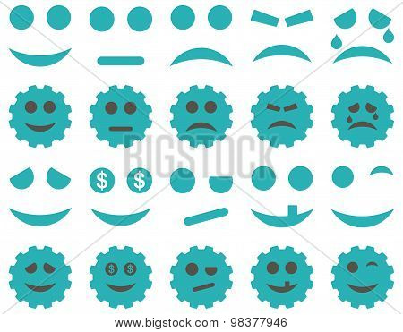 Tools, gears, smiles, emoticons icons