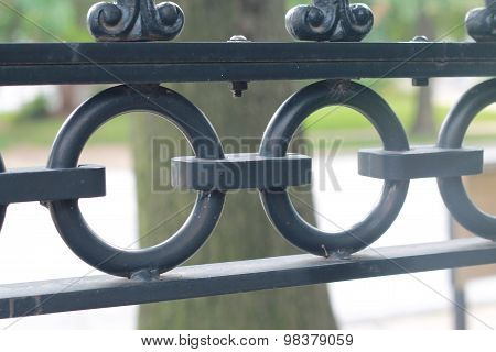Detail of metal fence with circles