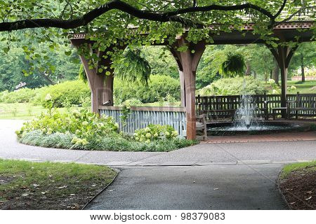 Gazebo and fountain in a park