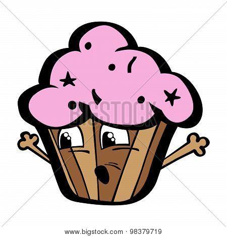 Kawai funny cartoon chocolate cupcake with strawberry cream
