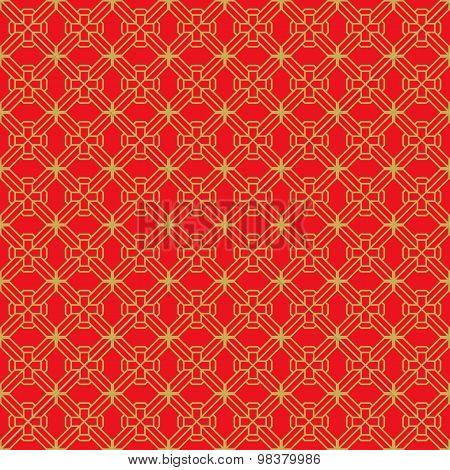 Golden seamless Chinese window tracery diamond geometry line pattern background.