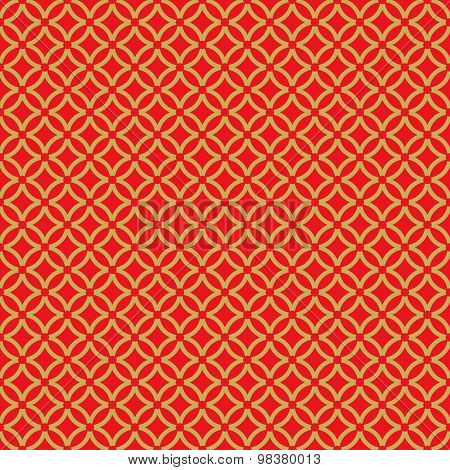 Golden seamless Chinese window tracery round cross line pattern background.