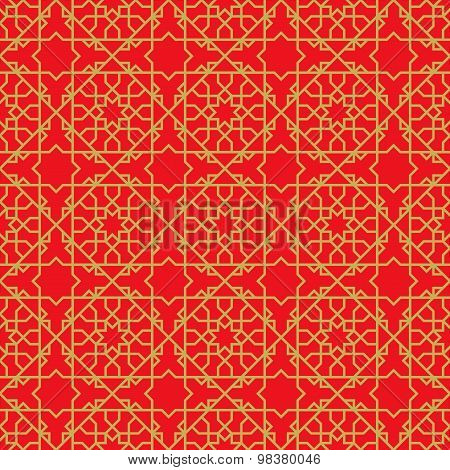 Golden seamless Chinese window tracery star line pattern background.
