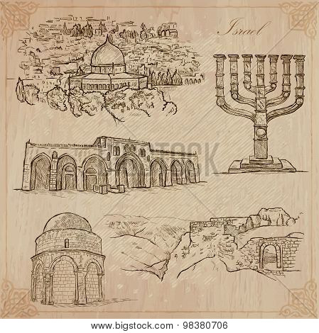 Israel - An Hand Drawn Collection. Vector Pack.