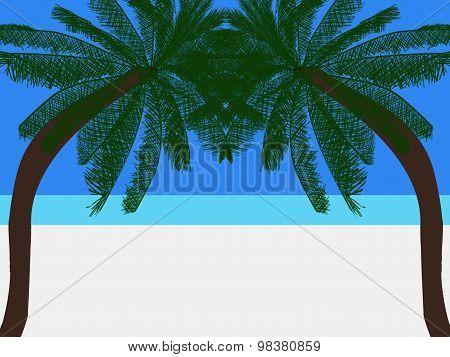 Symmetrical Palm Trees On A Tropical Beach