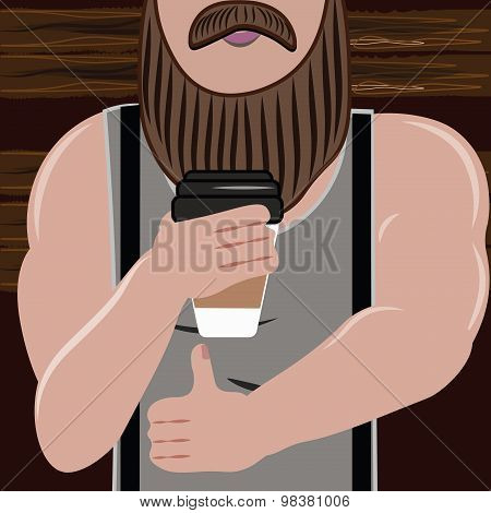 Sporty handsome man with a beard loves and drink coffee