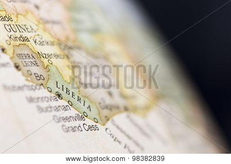Macro of Liberia on globe