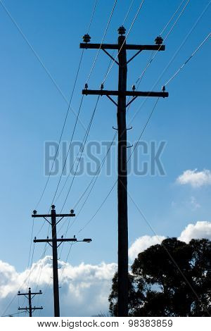 Silhouette Of Overhead Power Lines And Poles