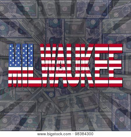 Milwaukee flag text on dollars sunburst illustration