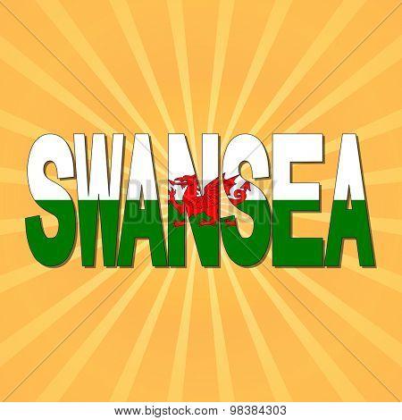 Swansea flag text with sunburst illustration