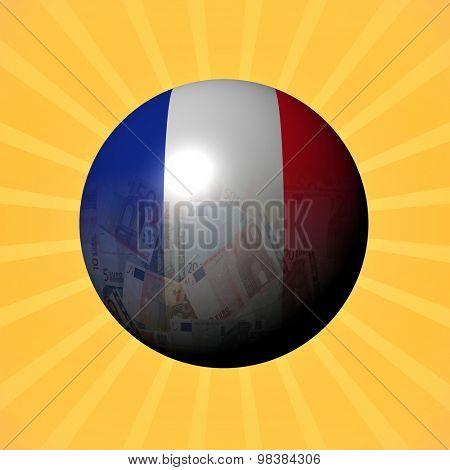 France flag euros sphere on sunburst illustration