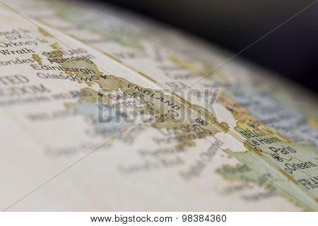 Macro of England on a globe