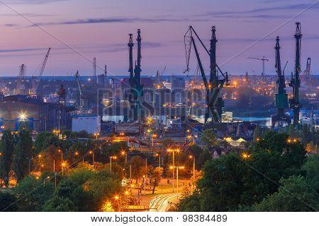 Gdansk Shipyard  at night, Poland