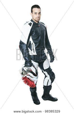 A biker man over a studio  white background