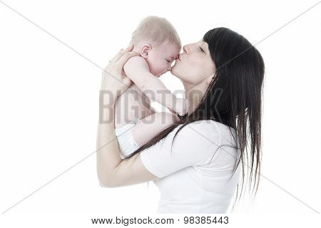 mother and son kiss, isolated on white background