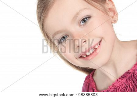 A beautiful girl child over a white background.