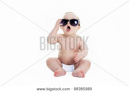 Portrait of cute toddler wearing sunglasses
