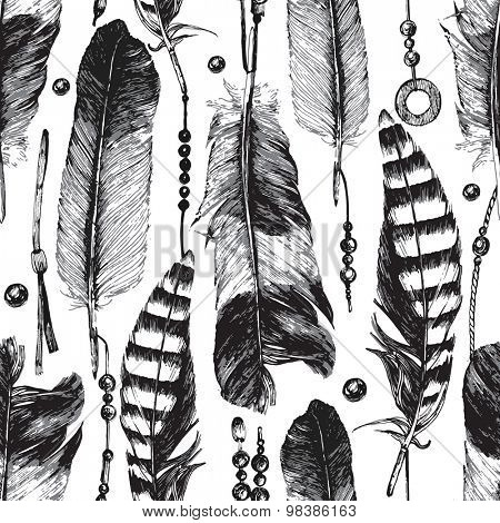 hand drawn seamless pattern with feathers and beads in tribal style