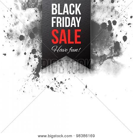 Black friday sale 2015 label on watercolor background
