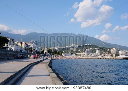Yalta, Crimea, 18, July, 2015: The Yalta embankment - the most popular place of resort of Yalta residents and tourists, one of the symbols of the Crimea