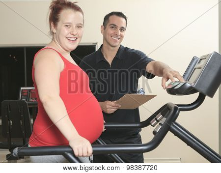 Physical therapist jogging ,pregnant woman