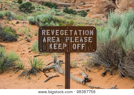 Revegetation Area Sign
