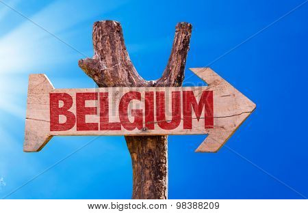 Belgium wooden sign with sky background