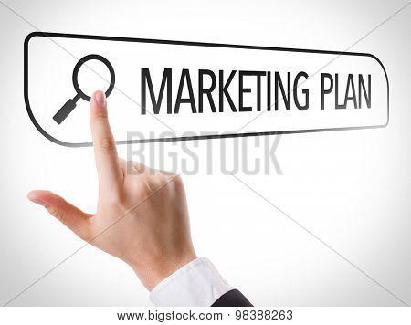 Marketing Plan written in search bar on virtual screen