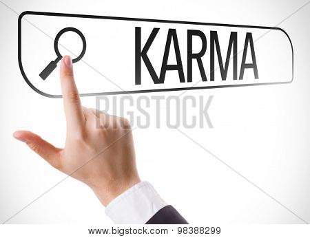 Karma written in search bar on virtual screen