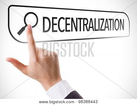 Decentralization written in search bar on virtual screen