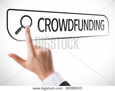 Crowdfunding written in search bar on virtual screen