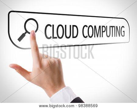 Cloud Computing written in search bar on virtual screen