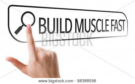 Build Muscle Fast written in search bar on virtual screen