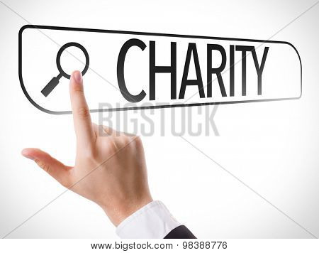 Charity written in search bar on virtual screen