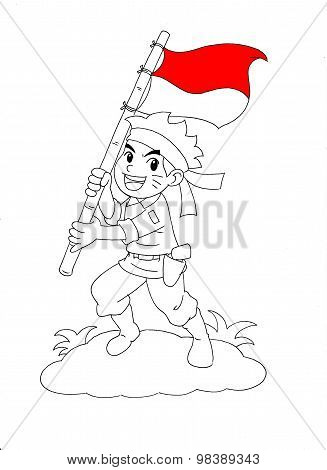 Indonesian Soldier carrying flag