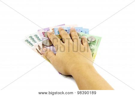Hand Holding Thailand Money Bills