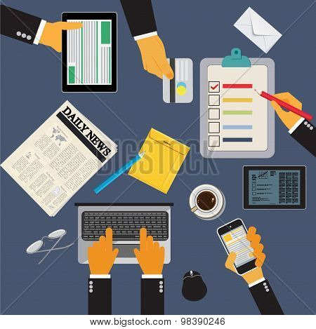 Office workplace with tablet, cellphone, newspaper and report, vector illustration in flat design fo