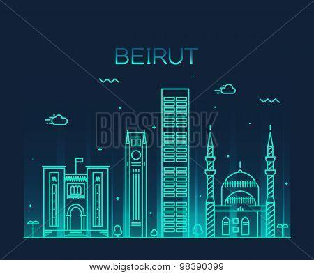 Beirut skyline trendy vector illustration linear