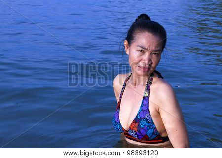 Lady Pretty Swimsuit In Water