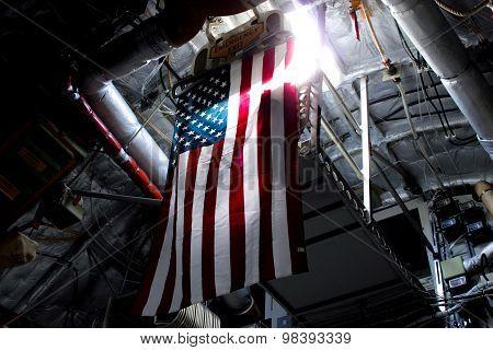 American Flag Inside A Cargo Plane