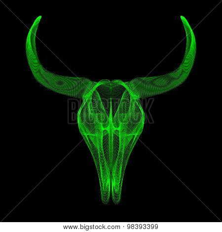 Bull skull. 3d style vector for print, tattoo, t-shirt.