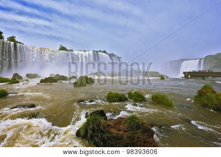 Fantastically spectacular boiling and thundering waterfalls of Iguazu. Waterfalls in Brazil